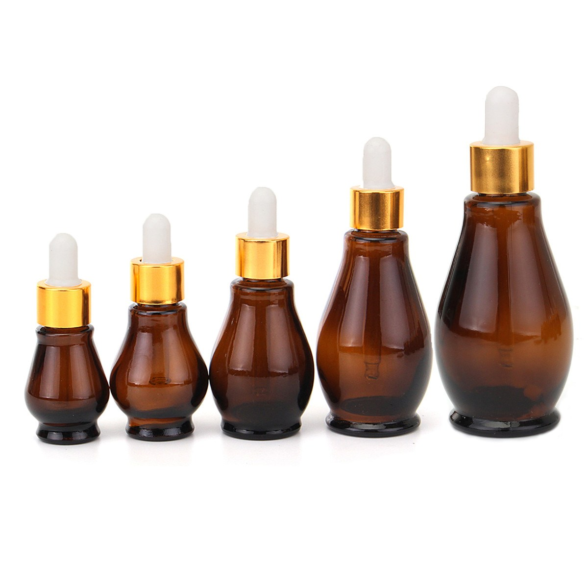 5pcs Gourd-shaped Amber Glass Dropper Bottle With Eye Pipette 10/20/30/50/100ml Aromatherapy Esstenial Oil Cosmetic Container 5 100ml reagent eye dropper drop amber glass aromatherapy liquid pipette bottle refillable bottles 35