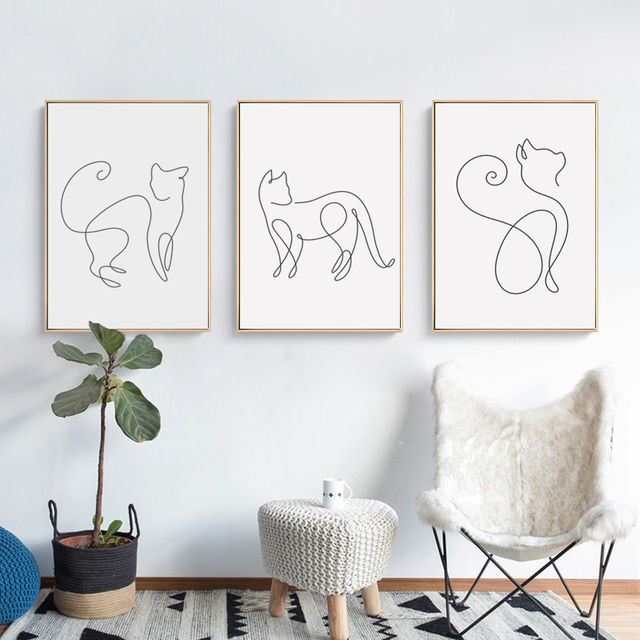 Abstract Line Curve Cat Canvas Poster