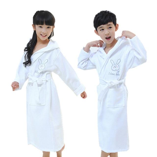 Children Bathrobe Boys Girls Sleepwear Robe Cotton Waffle Roupao Kids Girls  Pink Pyjamas Bathrobes Boys White Hooded Bath Robes 5aa1d8d81