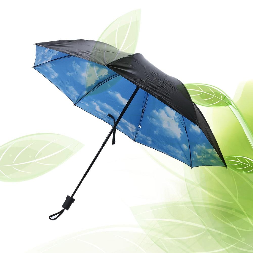 7260463cb15e 3D Blue Sky White Clouds Print Umbrella Women parasol Paraguas Men Rain  Umbrella Sunny Windproof Parapluie