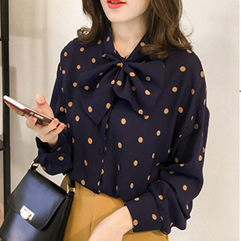 shintimes 2020 Autumn Casual Plus Size blouse women Lace up Bow Womens Blouses Long Sleeve Polka Dot Button Shirt Camisas Mujer
