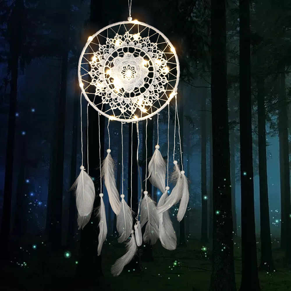 Dream catcher Dreamcatcher Led Handmade Feathers 30 styles Night Light dream catchers Wall Hanging Home Room decoration F300314