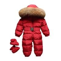 5 Colors Baby Duck Down Rompers Winter Thick Cotton Climbing Clothes Fur Girl Suit Children's Winter Duck Down Jumpsuit Snowsuit