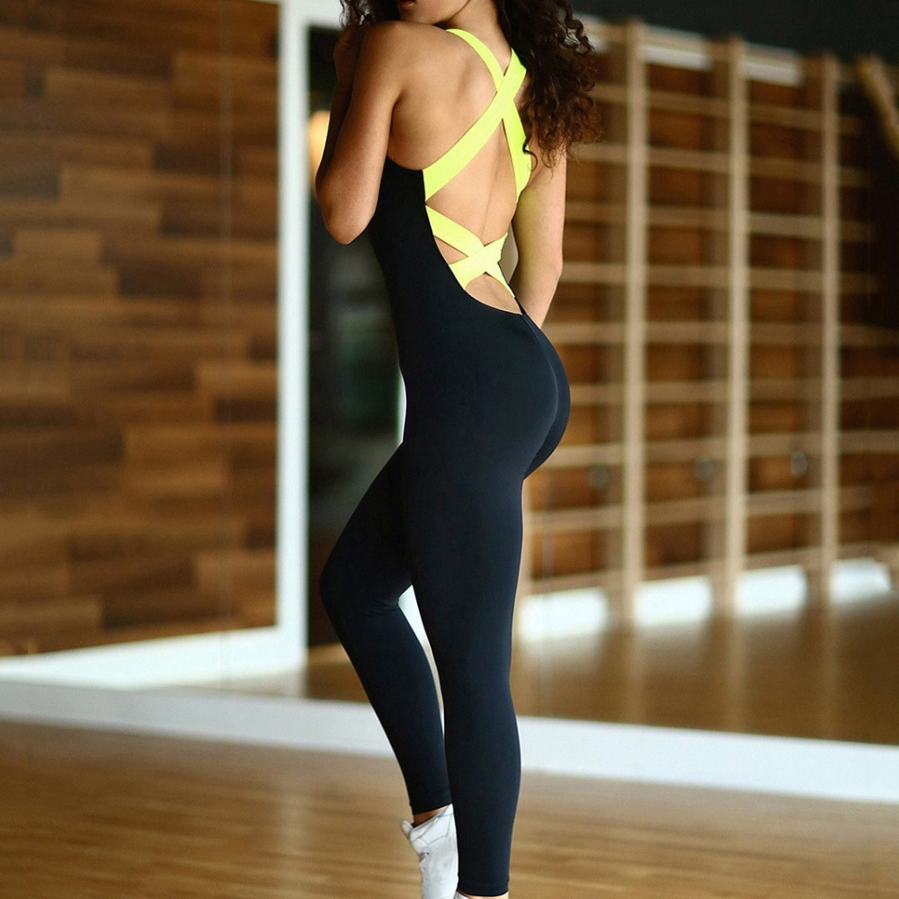 One Piece Sexy Sleeveless Backless Bodysuit 2017 New Running Tights Jumpsuits Womens Romper Workout Overalls Yoga Leggings