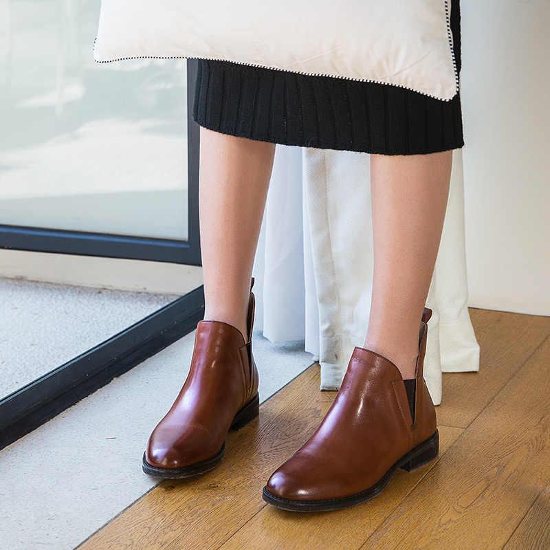 BeauToday Chelsea Çizmeler Kadın El Yapımı Elastik Yuvarlak Ayak Hakiki Buzağı Deri En Kaliteli Marka Bayan Ayakkabıları bileğe kadar bot 03065