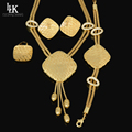 Parure Bijou Tassel Style Top Quality 24K Gold Plated Pretty Big Dubai African Jewelry Set Nigerian Wedding Beads Big Necklaces