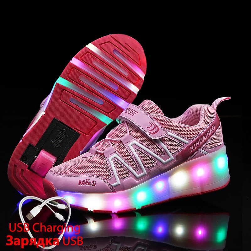 USB Oplader Kinderen Led Schoenen Gloeiende Sneakers met Wiel voor Meisje Kids Light Up Schoenen Led Slippers Casual Lichtgevende Sneakers