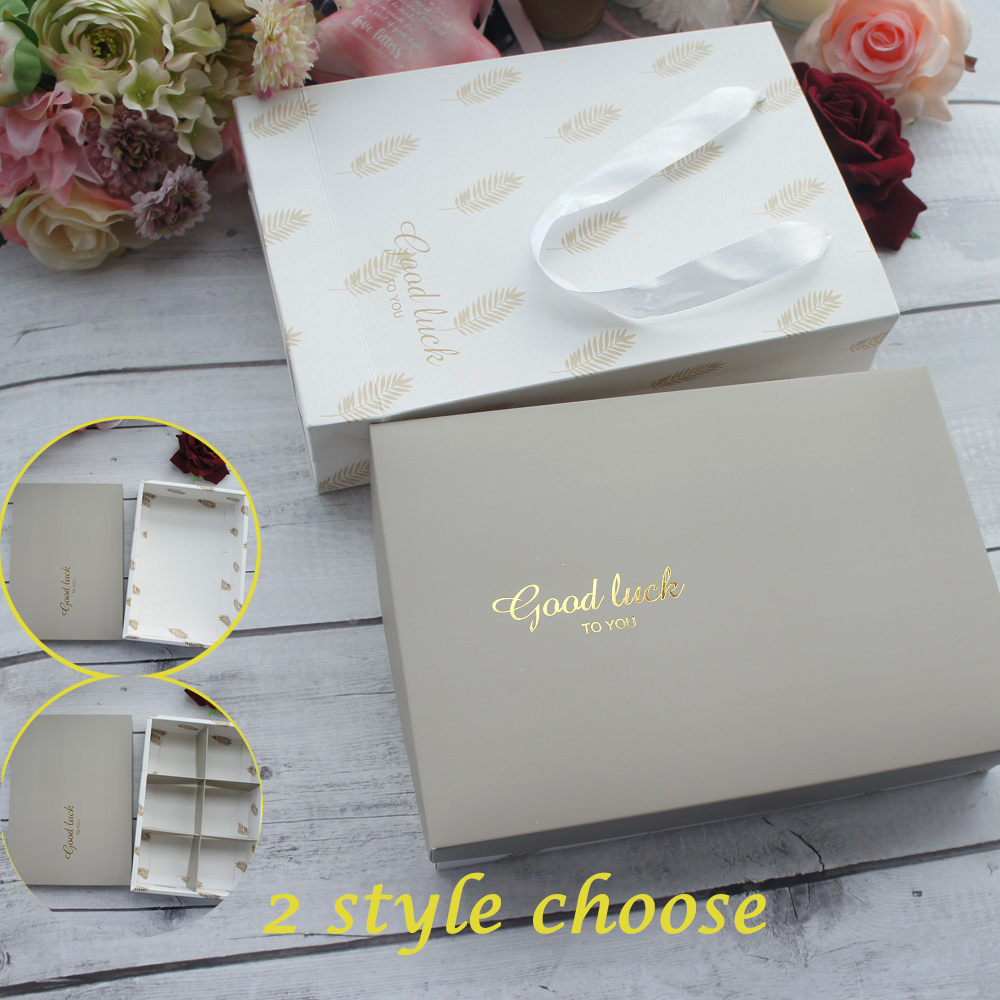 22*15*5cm 5pcs Elegant Gray Gold Luck Leaves Paper Box Macaron Chocolate Cookie Wedding Birthday Christmas Party Gifts Packaging