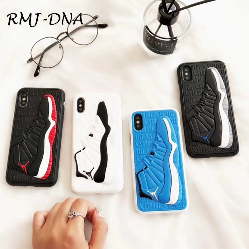 Fashion NBA Brand Jordan Case for iPhone 6 6s 7 8 Plus X Silicone Phone Coque Cover for iPhone X 8X 3D Shoes Phone Cover Coke