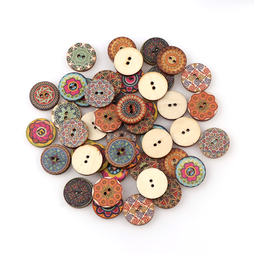 50pcs  Mixed Wood Buttons Vintage Colorful Flowers  Scrapbooking Sewing Craft 20mm Random Mixed Handmade Clothes Decor Buttons