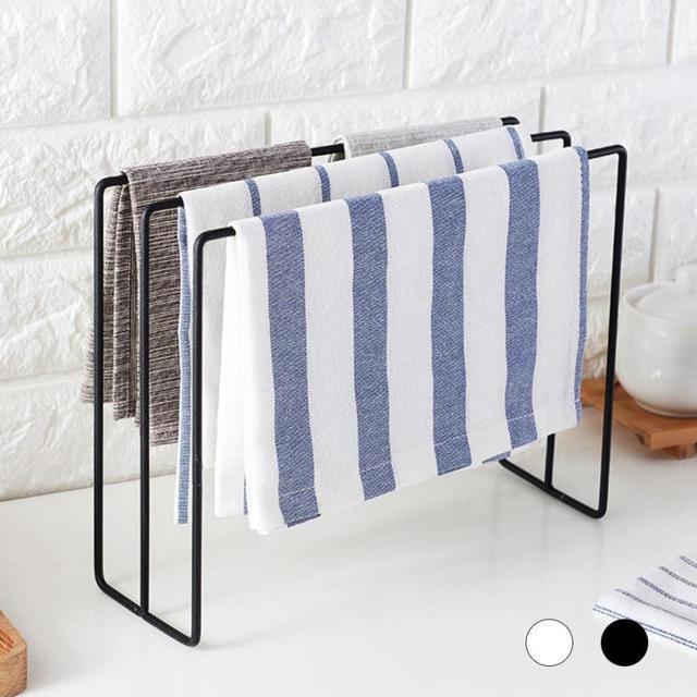 Amazing Metal Towel Holder Kitchen Bathroom Hangers Storage Rack Dishcloth Cleaning  Scouring Cloth Desktop Hanger Shelves Organizer