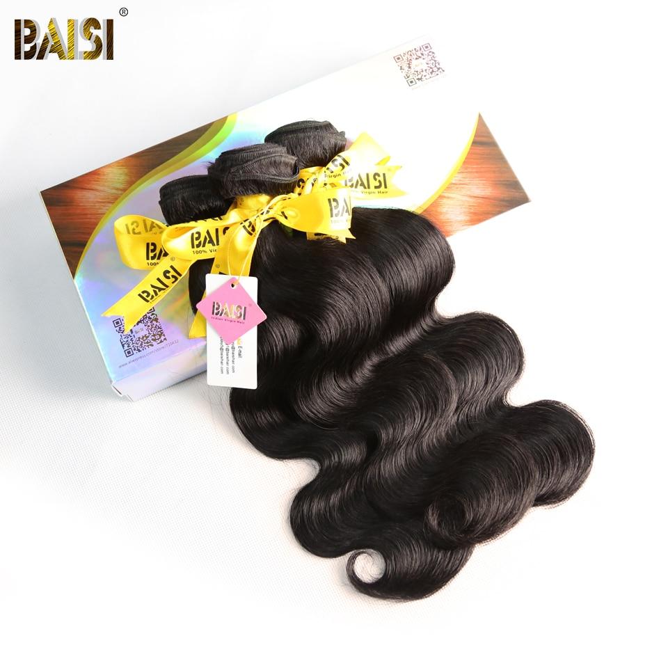 BAISI Hair Indian Virgin Hair Body Wave 10A Raw Hair Extensions 3 Bundles 100 Human Hair