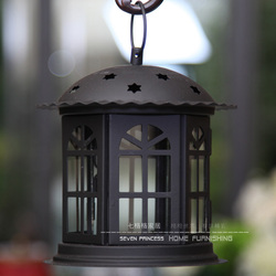 Handmade European style Portable Metal + glass  Windproof Candles Holders Black and white