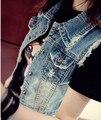 Vintage Frazzle Corto Chaleco de Mezclilla de Moda Casual de Las Mujeres Delgadas Abrigo Veste Femme Jean Chalecos Chaleco Chaqueta Sin Mangas de Mezclilla