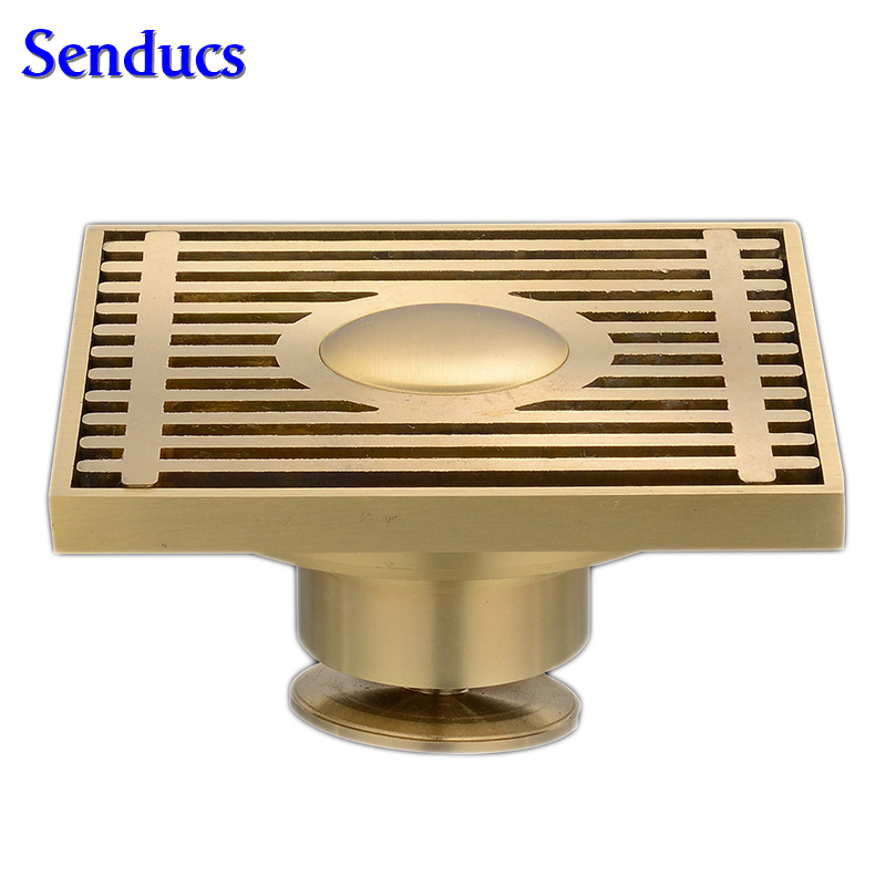 Free shipping Suqare bathroom floor drain with solid brass drainer and 10x10cm Brass gold Brushed Floor Drain Bathroom drains free shipping copper bounce bathtub drainer with drain pipe kf171