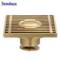 Free shipping Suqare bathroom floor drain with solid brass drainer and 10x10cm Brass gold Brushed Floor Drain Bathroom drains