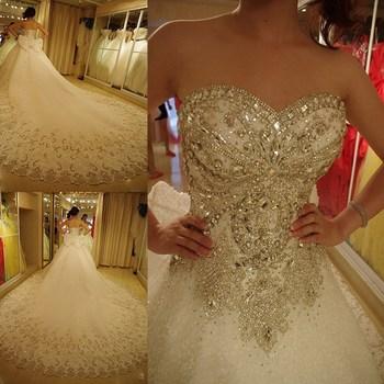 2016 роскошные свадебные платья шику милая органзы царский поезд кристалл алмаза свадебные платья Большой размер кружева-up настроить