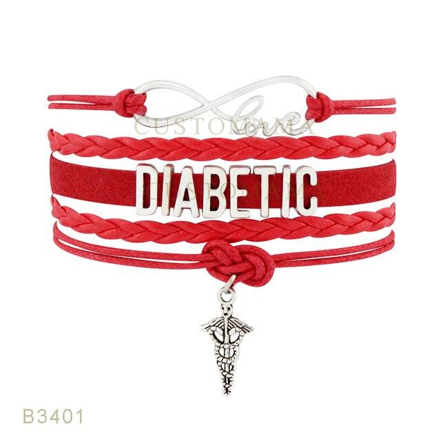 Custom- Infinity Love Diabetic Nurse Charm Bracelets For Women Men Gifts Red Black Wax Suede Leather Wrap Bracelets