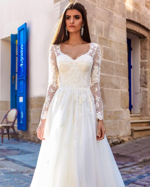 Vestidos De Novia Bridal Dress A Line Country Bohemian Lace Halloween Long  Sleeve Wedding Gown Vintage Boho Wedding Dress 2019 52cae204a5ec