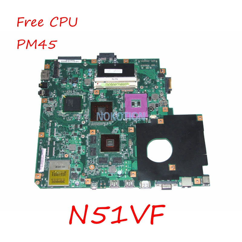 NOKTION N51VF REV 2.0 Laptop Main board For Asus N51VF motherboard PM45 NVIDIA N10P-GE1 <font><b>DDR2</b></font> free cpu image