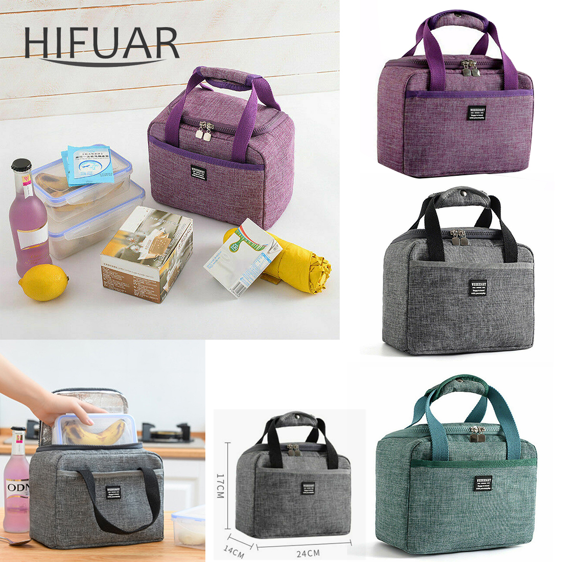 Waterproof Insulated Lunch Bags Picnic Pouch Unisex Thermal Dinner Food Case Accessories Meal Container School Food Storage Bags