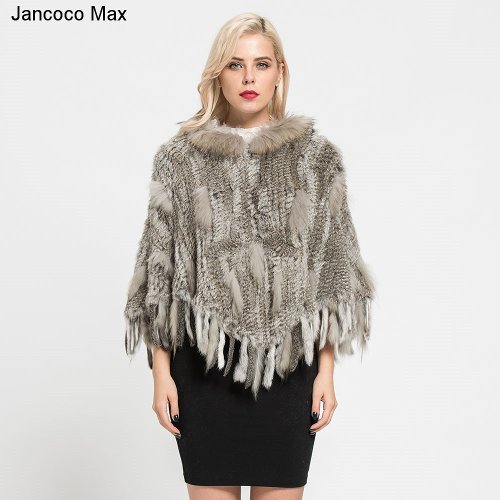 Jancoco Max 2018 New Winter Fashion Real Rabbit & Raccoon Fur Knitted Poncho Female Party Pocket Shawls Pullover S7183 rabbit print pullover