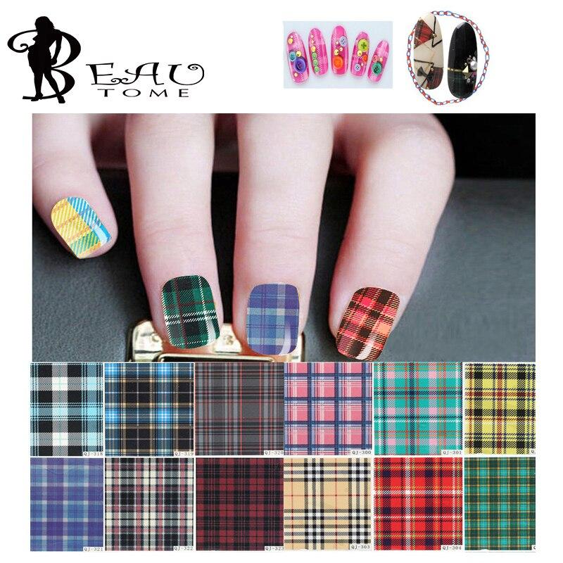 Beautome 1PC 3D Nail Stickers England Scottish font b Tartan b font Pattern Woolen Coat Grid