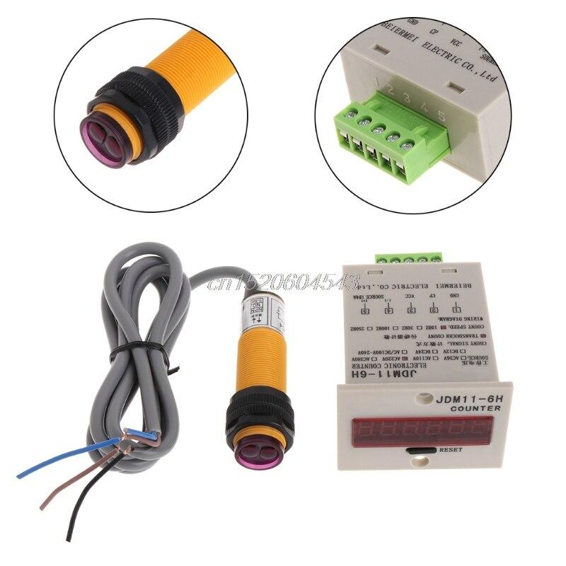 6-stellige Led-anzeige 1-999999 Zähler Einstellbar Npn Optischer Sensor Schalter R09 Drop Schiff Messung Und Analyse Instrumente Zähler