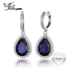 Jewelrypalace 12.4ct Creado Pear Cut Blue Sapphire Cuelga Los Pendientes de Lujo Sólida Plata de ley 925 de Joyería Fina para Las Mujeres
