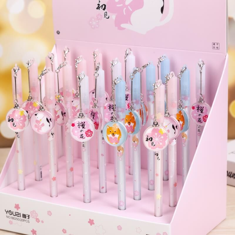 20pcs set Gel Pens Crystal Cherry Blossom Black Gel ink Student Pen Pen for Writing Cute Stationery Office School Supplies in Gel Pens from Office School Supplies