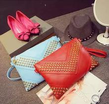 Hot! Fashion personality rivet geometry candy colors shoulder bag across body messenger bag handbags casual wallet 4 colors