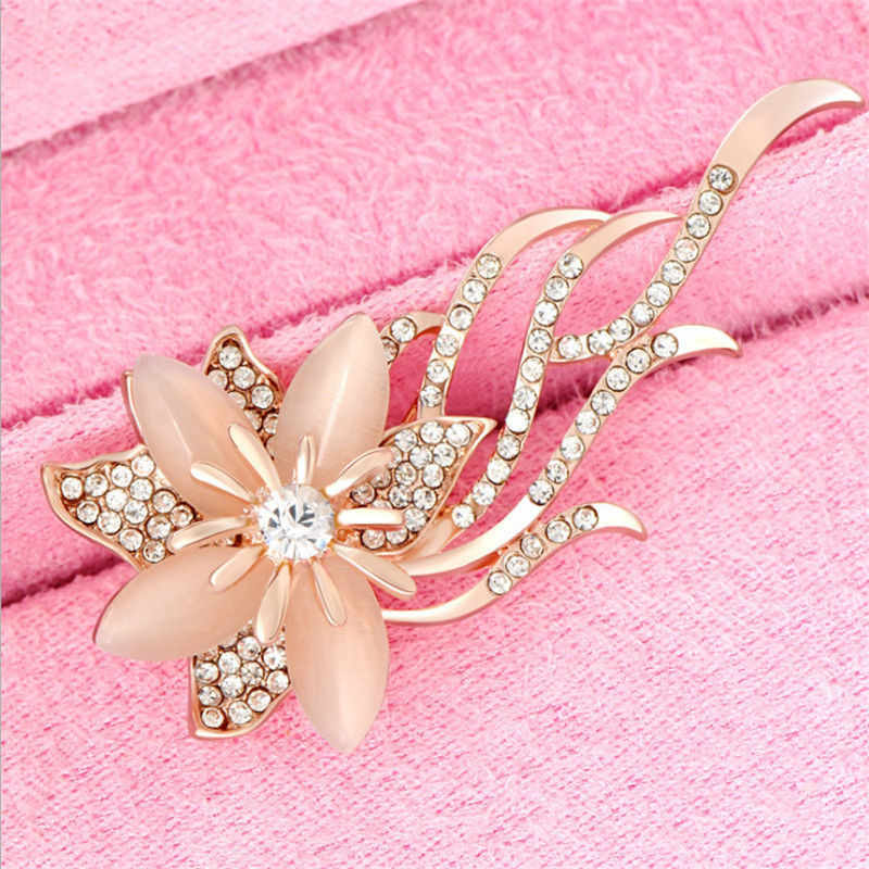 Bros Batu Opal Rhinestone Bros Warna Emas Bunga Bouquet Bros Pin Bridal Pernikahan Perhiasan Hadiah