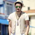 Men Linen Vest summer Elegant Single Breasted Sleeveless V-Neck Slim Fashion Waistcoat casual Suit Vest Coat Tank Top 2017 new