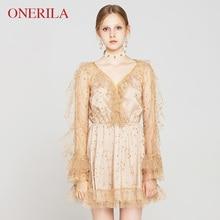 ONERILA Autumn Korean Style Sweet Women Long Sleeve Ruffles Gold Color Mini  Dresses. US  44.10   piece Free Shipping 4f47bd255b1f