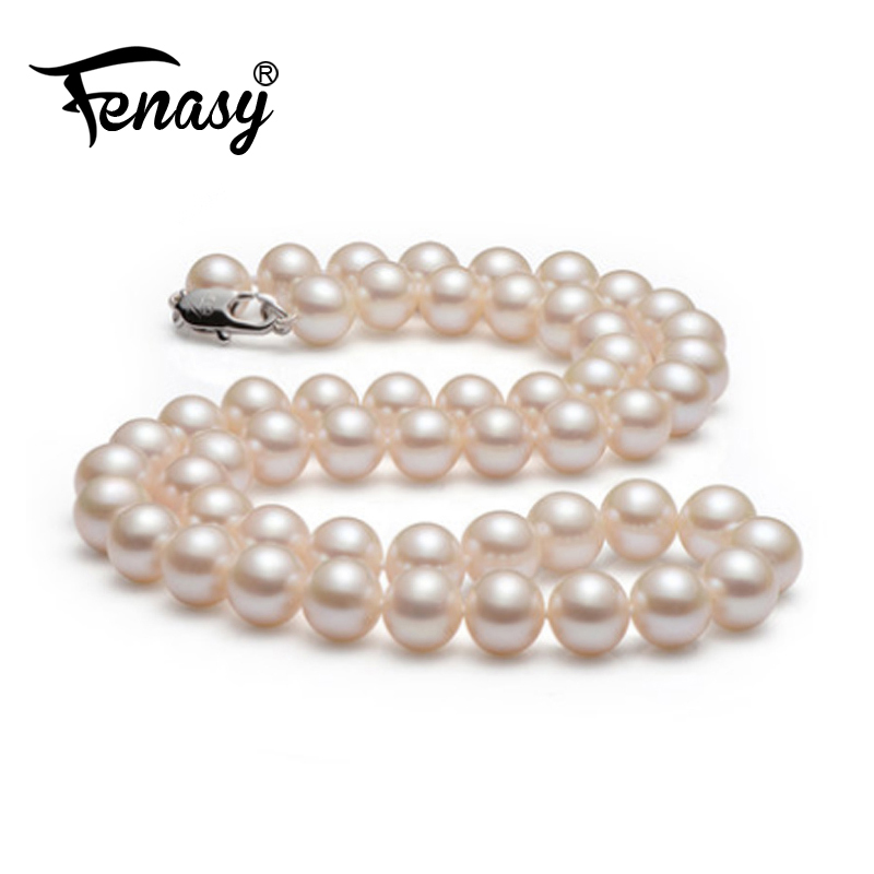 FENASY pearl jewelry,natural round pearl necklace with 8-9MM PEARL ,fashion necklaces for women ,classic design Christmas giftFENASY pearl jewelry,natural round pearl necklace with 8-9MM PEARL ,fashion necklaces for women ,classic design Christmas gift