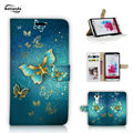 For LG G5 Wallet Covers Print Butterfly Flowers PU Leather Cell Phone Case Cover For LG G5 Mobile Phone Bags Cases