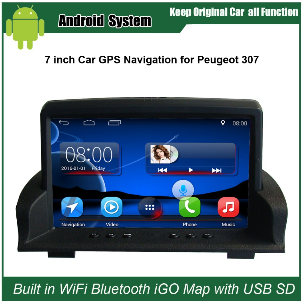 Amélioré D'origine Autoradio Android Lecteur Costume à Peugeot 307 Lecteur Vidéo de voiture WiFi Intégré GPS Navigation Bluetooth