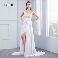 High Side Slit Beach Wedding Dresses 2016 Vestido De Noiva Chiffon Lace Appliqued Sexy Women Bridal