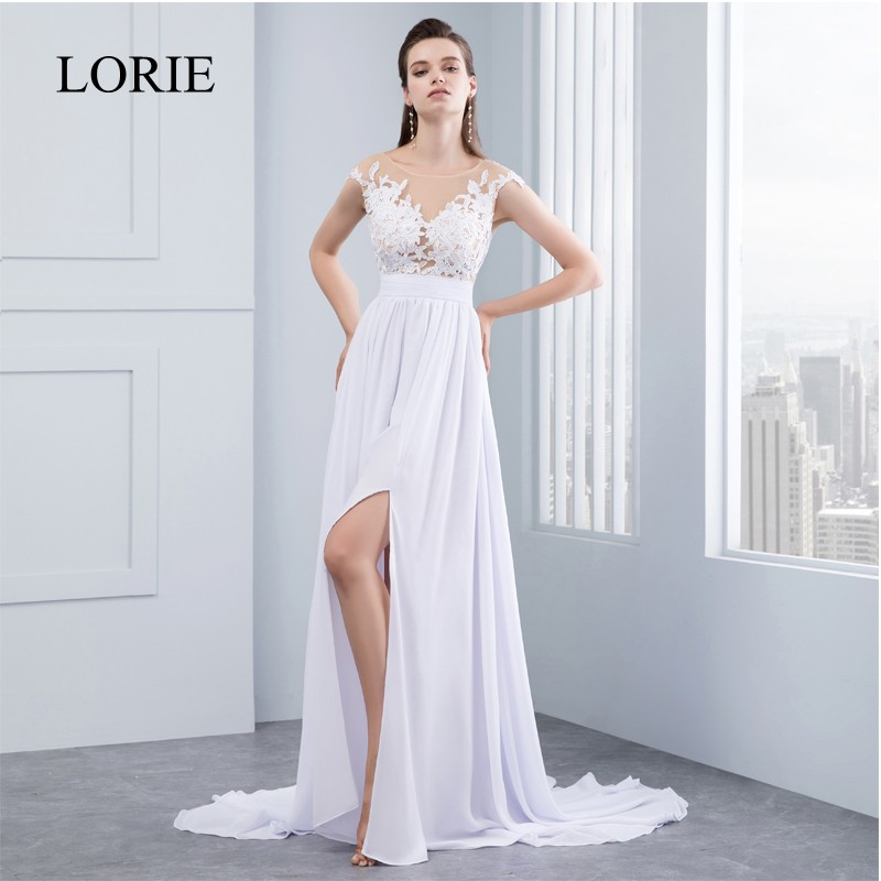 High Side Slit Beach Wedding Dresses Vestido De Noiva Chiffon Lace Appliqued