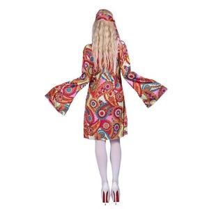 Image 3 - 2017 Flower Printed Long Sleeve Boho Dresses Hippie Dress With Headband Adult Halloween Cosplay Plus Size Halloween Costumes