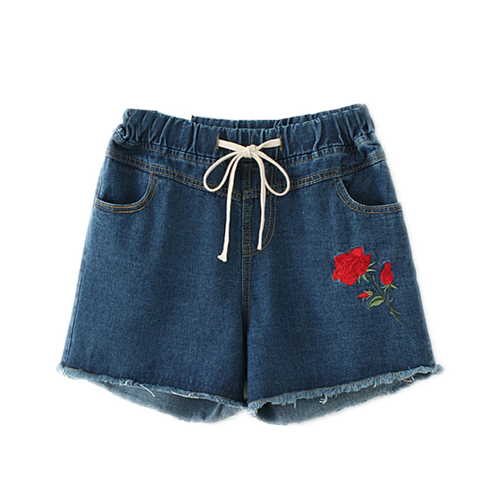 2017 summer new large size women Rose Embroidered Denim Shorts female elastic waist drawstring trousers and shorts. karen kane new women s size large l navy red embroidered tie front blouse $119