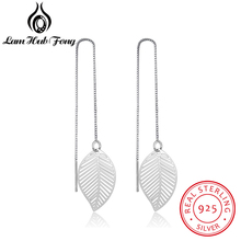 Diamondido Hot Real 925 Sterling Silver Leaf Earrings For Women Girls Long Chain Tassel Drop Earring Brand Wedding Party Jewelry
