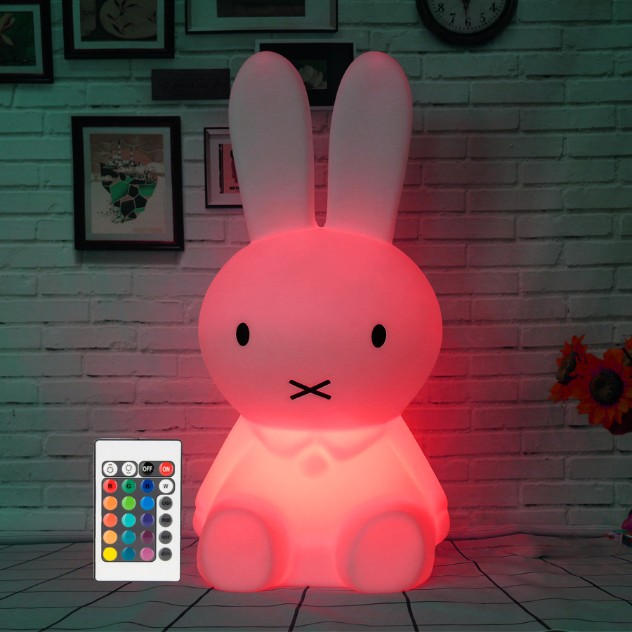 H28CM RGB Led Rabbit Lamp Night Light USB for Children Baby Kids Gift Animal Cartoon Bedside Bedroom Living Room Decoration