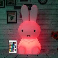 H28CM RGB Led Rabbit Lamp Night Light USB for Children Baby Kids Gift Animal Cartoon Bedside Bedroom Living Room Decoration