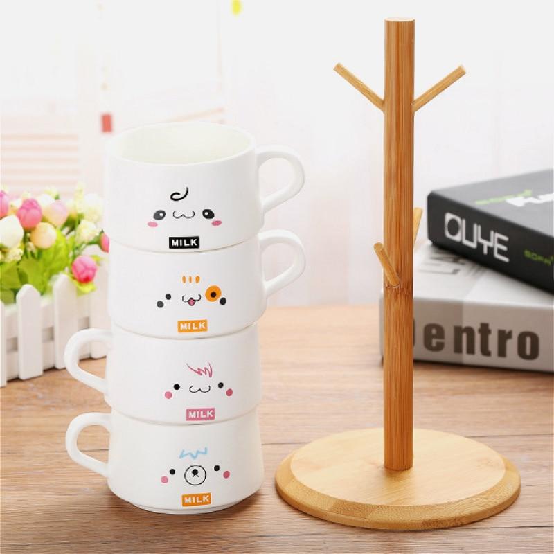 200ML coffee cup set matte ceramic mug gift coffee set personalized cafe mug 4 cups gift wooden rack - 3