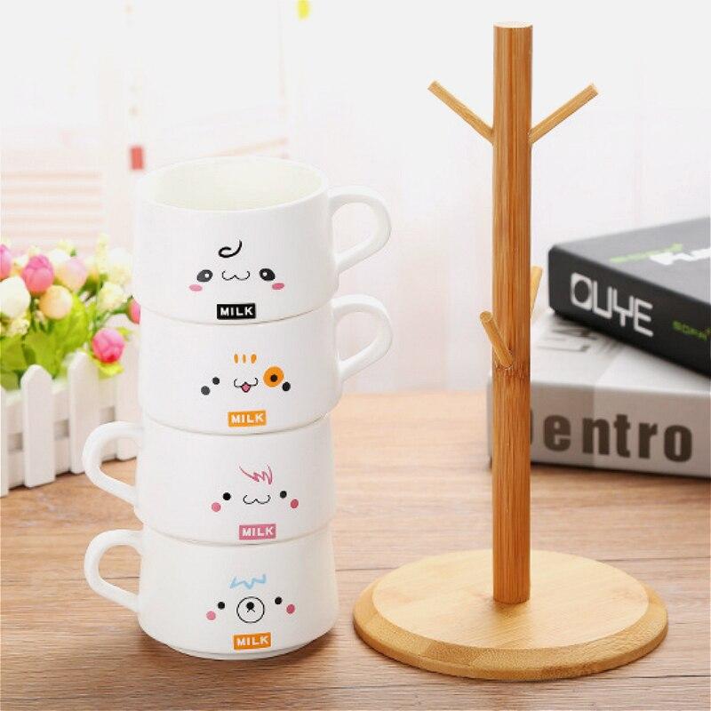 Conjunto xícara de café 200 ML fosco caneca de cerâmica caneca de café jogo de café de presente personalizado 4 copos de presente de rack de madeira - 3