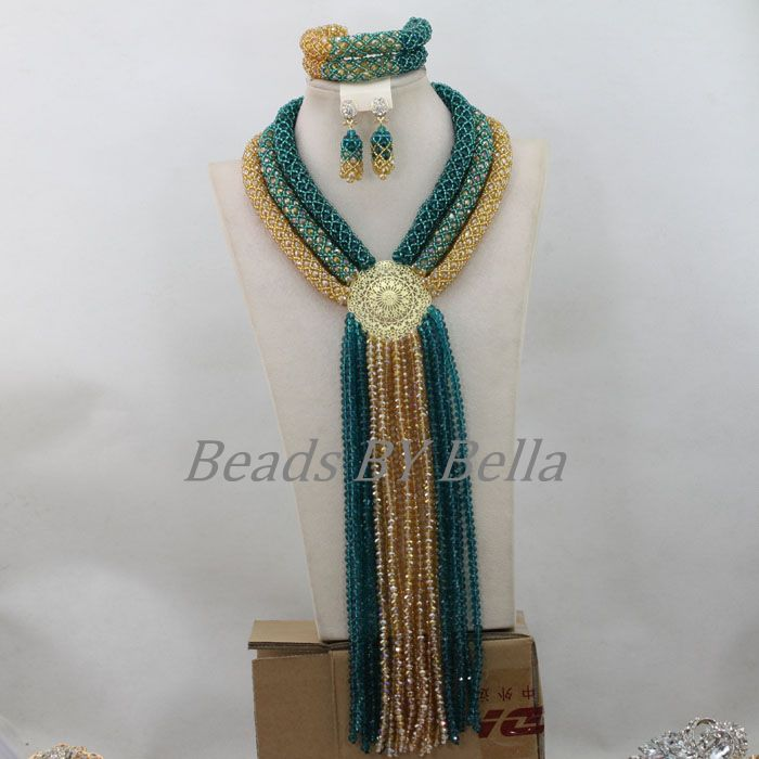 Fantastic Teal Green Gold Nigerian Wedding African Beads Jewelry Set Crystal Necklace Bridal Jewelry Sets Free Shipping ABF756