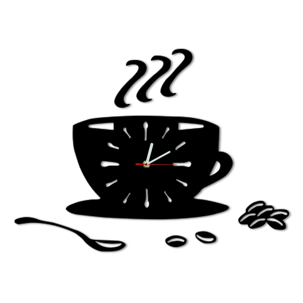 Coffee Shop Fashion Art Coffee DIY Wall Clock Cafe Beans Acrylic Mirror Effect Hanging Coffee Cup Modern Kitchen Clock Watch