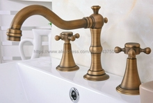 Antique Brass 3 Hole Bathroom Sink Faucet Deck Mounted Cold Hot Vintage Sink Faucet Mixer Tap Nan086 free shipping four sets of bathrooms ceramics brass faucet double knobs 4 hole deck mounted sink faucet hot cold mixer tap