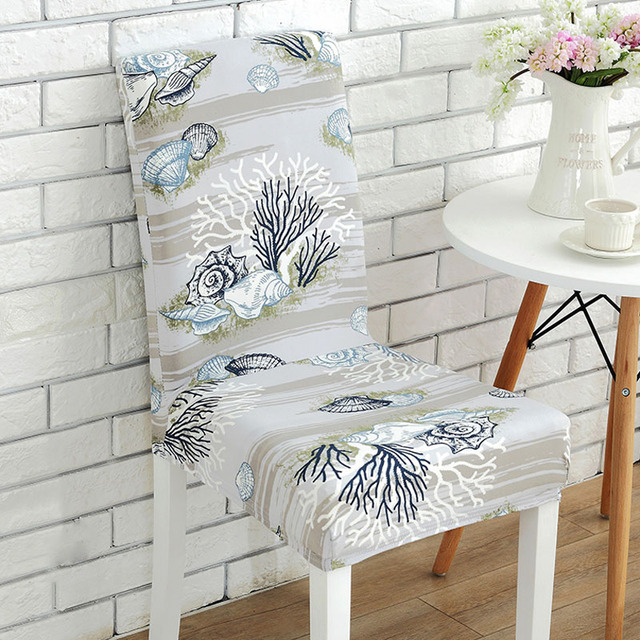 Removable Durable Spandex Elastic Stretch Office Chair Covers Sea Animals  Maple Leaf Floral Pattern Hotel Dining